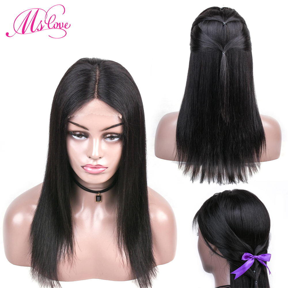 Ms Love Lace Front Human Hair Wigs Brazilian Straight Human Hair Wigs For Black Women Natural Color 150% Density Non-Remy