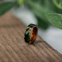 Wood & Resin Rings with Green Moss & Gold Flakes