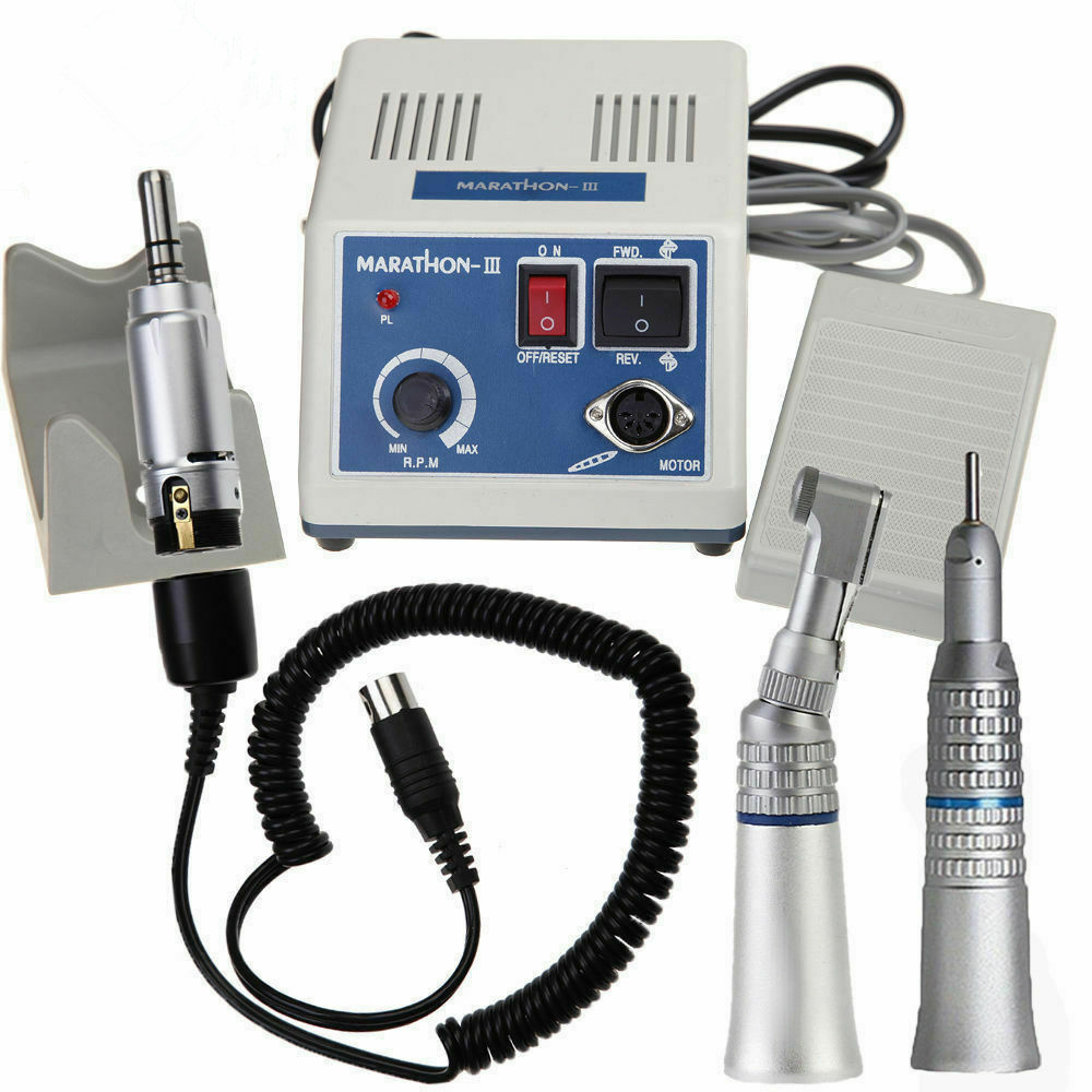 Dental Lab E-TYPE Micromotor Polish Hand Piece With Contra Angle & Straight Handpiece SEAYANG MARATHON 3 + Electric Motor