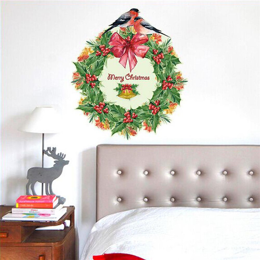 Wallpaper Sticker Art Christmas Garland Xmas Gift Removable Wall Sticker Art Home Decor Purchasing Wallpapers For Living Room B#