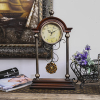 TUDA Free Shipping 12inch European Retro Tayle Table Clock Automatic Mechanical MDF Table Clock Personality Fashion Round Clock