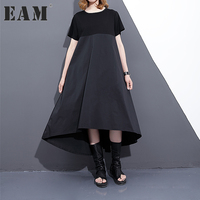 EAM 2017 New Summer Round Neck Short Sleeve Split Joint Hit Color Black Large Size