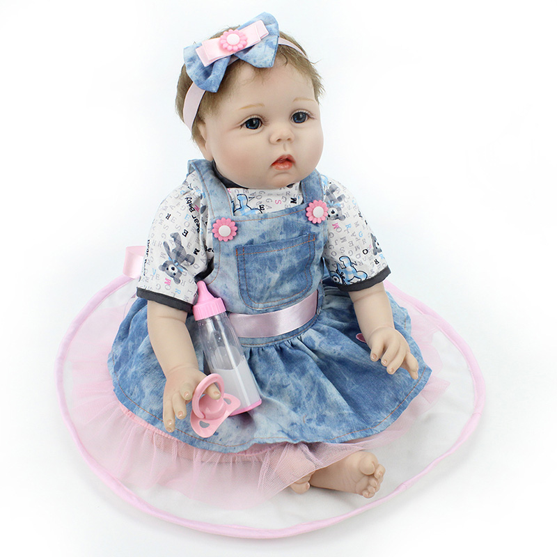 New Style 22Inch Baby Dolls Realistic Doll Reborn Gift Play House Toys Silicone Reborn Baby Dolls Simulation Baby Dolls Newborn
