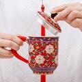 Cloisonne Выгравированный цветочный чайник чашка чистое серебро 999 чайная чашка Чистая ручная Кружка Чайный набор кунг-фу