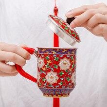 цена на Cloisonne engraved Flower Teapot Cup Pure Silver 999 Tea Cup Pure Hand-made Mug Tea Cup Kung fu Tea set