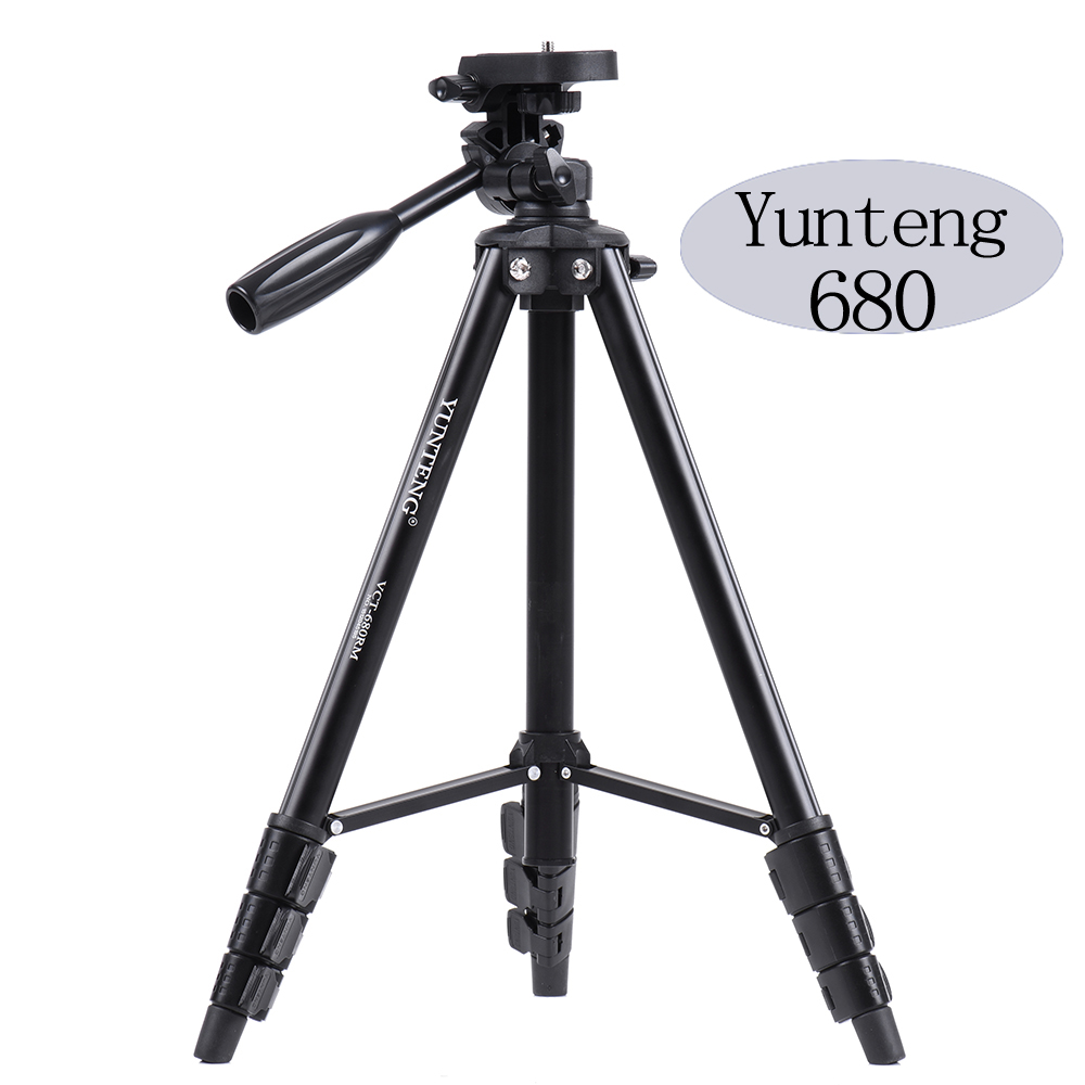VCT-680 Yunteng Professional Portable tripod  micro-single lightweight tripod for SLR Camera  head set new professional aluminum alloy yunteng vct 668 tripod for slr dslr camera maximum load 3kg with carry bag