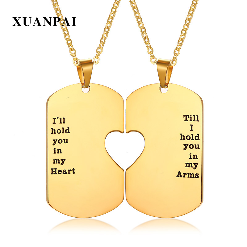 Couple Pendant Neklace Stainless Steel Gold Color Tone Lovers Heart Pendants Set With 2 Piece Chain 20inch Anniversary Gift