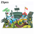 21pcs Plastic Military Model Kits Action Figure Toy Army Men Soldiers Airplane Tanks Accessories Set Educational Toys For Boys
