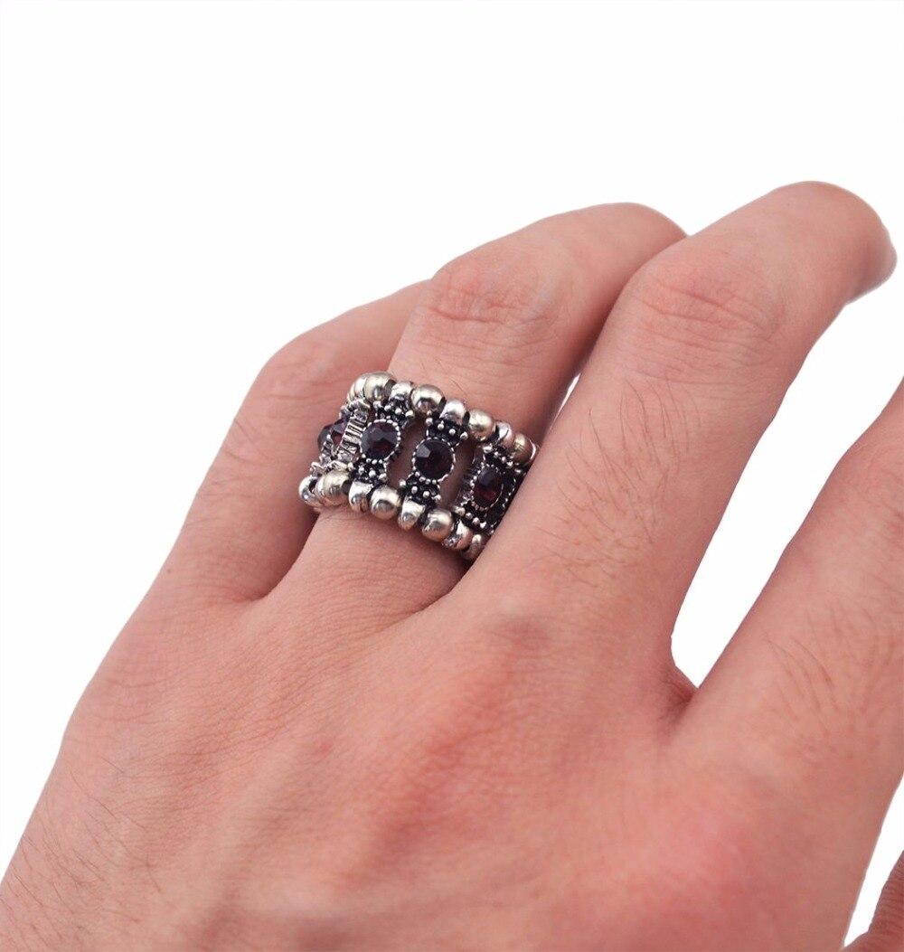 Idealway Adjustable Clear Black Crystal Stone Finger Ring Antique ...