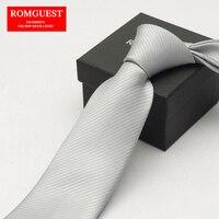 2016 남성 높은 품질 라이트 그레이 실버 회색 비즈니스 캐주얼 넥타이 8 센치메터 순수한 컬러 목 넥타이 corbatas 남성 gravata 선물 상자