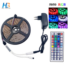HBL LED Strip 5050 4M 5M  Led Ribbon RGB led strip Light non watreproof Flexible led tape IR Controller DC 12V adapter set