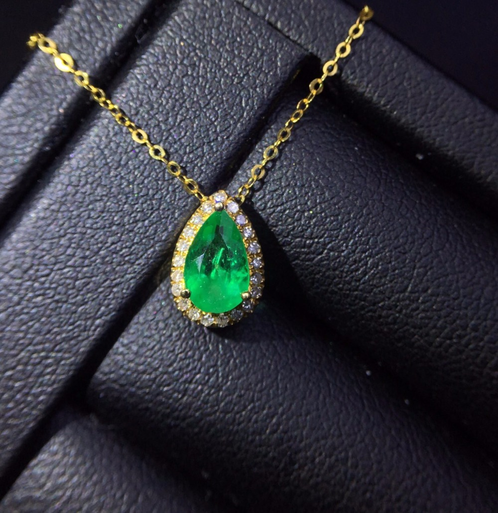 Fine Jewelry Real Pure 18 K White Gold Jewelry AU750 Natural Green Emerald 0.6ct Gemstones Pendants for Women Fine NecklaceFine Jewelry Real Pure 18 K White Gold Jewelry AU750 Natural Green Emerald 0.6ct Gemstones Pendants for Women Fine Necklace