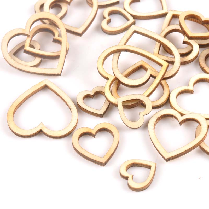 50pcs 15/20/25/30mm Hollow Heart Shape Wood For Scrapbooking Handmade DIY Carfts WoodenEmbellishment Home Decor Ornament M2148