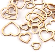 50pcs 15/20/25/30mm กลวงหัวใจไม้สำหรับ Scrapbooking Handmade DIY Carfts WoodenEmbellishment home Decor (China)