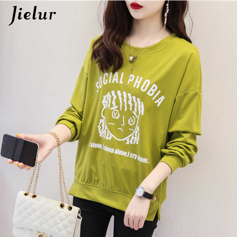 Jielur футболка с длинными рукавами женская футболка с рисунком с круглым вырезом Vetement Femme 2019 Новая Осенняя Футболка женская 2 цвета m-xxl