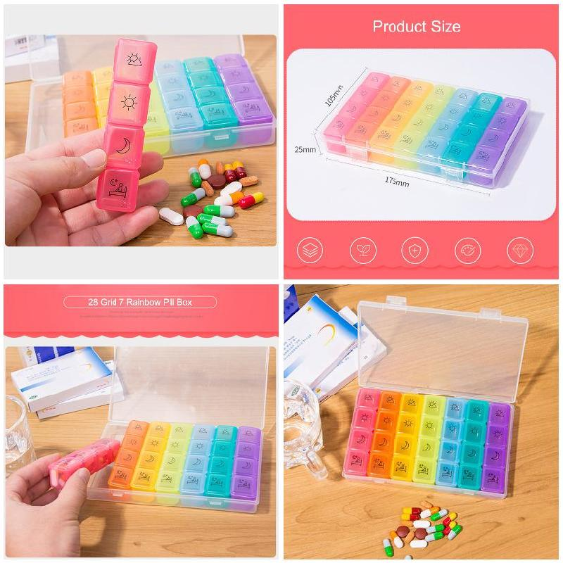 4 Times a Day 7 Days Rainbow Pill Storage Box with 28 Compartments for Health Care Purpose 5