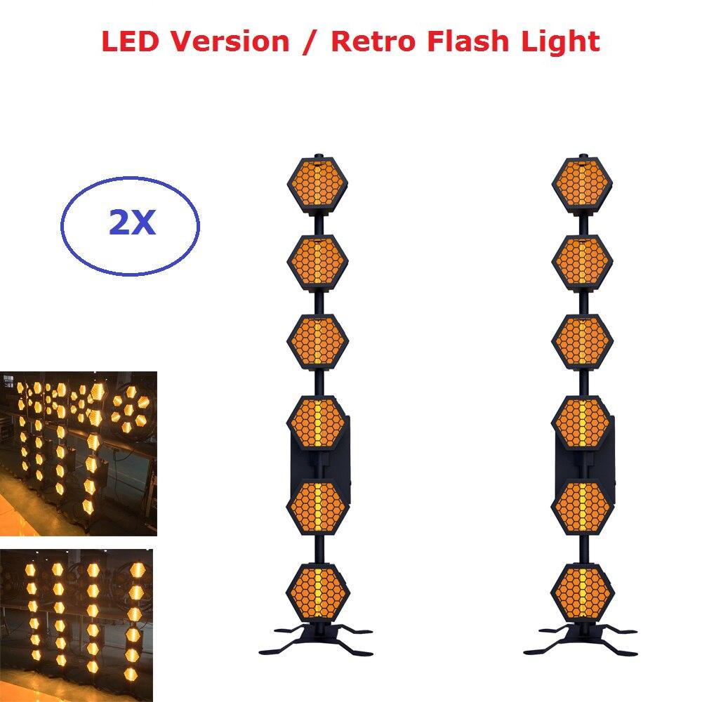 2 pièces Dj équipement LED rétro Flash lumière 6X60 W blanc chaud LED lumière de scène DMX contrôleur Disco lumières lumière Dj Effet lumière LED