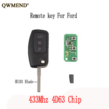 QWMEND 3 Bottoni 433 Mhz chiave A Distanza FAI DA TE Per Ford Fiesta Focus C Max S Max Galaxy 2013 4D63 Circuito Integrato chiavi originali HU101 Lama