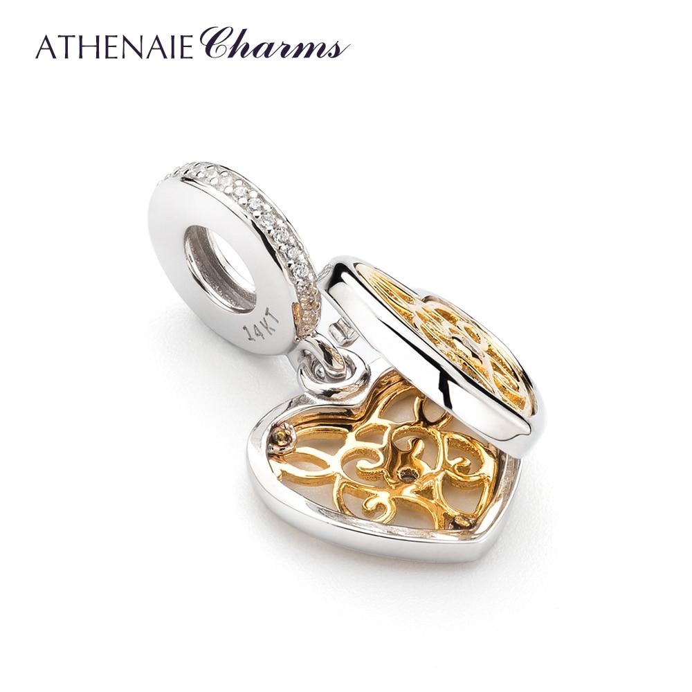 ATHENAIE 925 เงินสเตอร์ลิง Pave 14Kt จี้ทองและ Clear CZ โรแมนติกหัวใจ Charms ลูกปัดสร้อยคอและสร้อยข้อมือสำหรับผู้หญิง บน   2