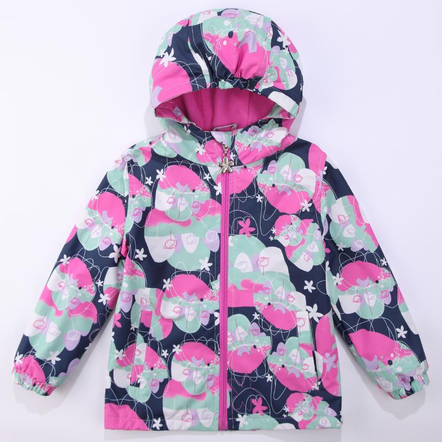 Teplá květina Print Child Coat Větrovka odolná dětská dívka Bundy Dětské svrchní oděvy Teplé polární fleece pro 3-12 let