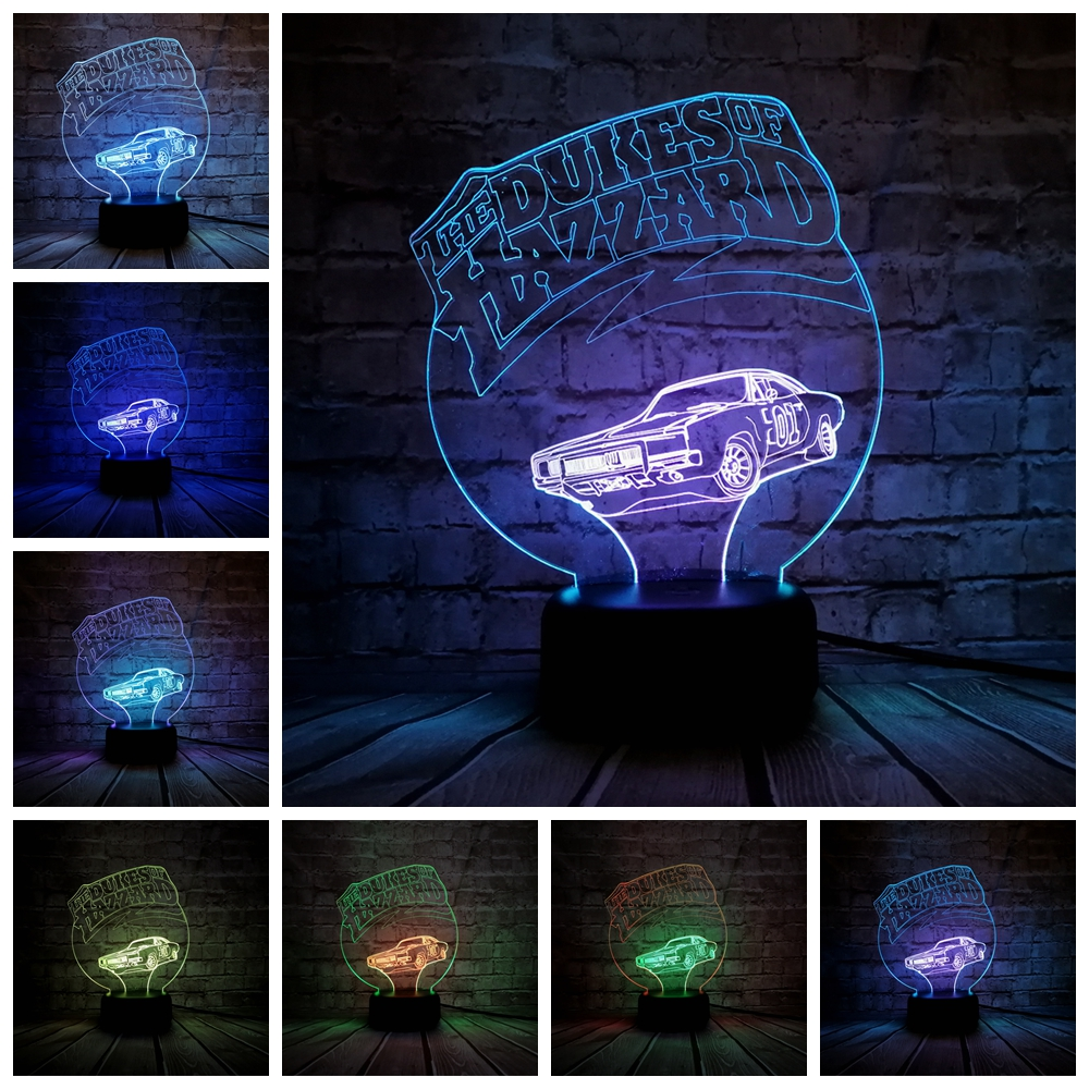 3D Lamp 01 CAR The DUKES OF HAZZARD Night Light Multicolor LED RGB Lighting Luminaria Table Kids Christmas Gift Home Deacorative xmas gift series christmas decorations for home 3d lamp led night light luminaria santa claus tree snow man bear fish kids toys
