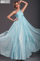 FreeShipping New One Shoulder Fabulous Fitted Bodice Chiffon Evening Dress