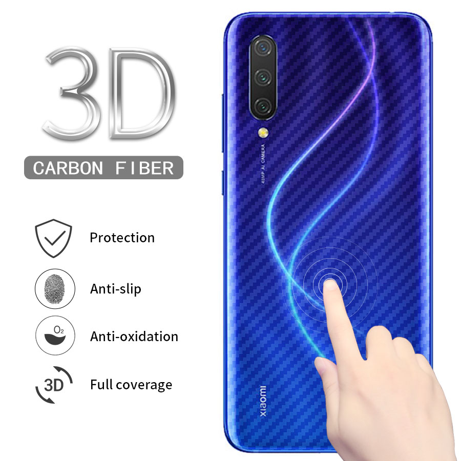 5Pcs 3D Carbon Fiber cover <font><b>Sticker</b></font> Back Screen Protector For Xiaomi Mi A3 CC9 CC9e 9T Pro A2 Llite <font><b>Pocophone</b></font> <font><b>F1</b></font> Redmi K20 Note 7 image
