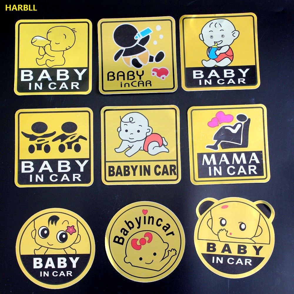 Baby In Car Warning Styling Car Stickers Decoration Waterproof Eye-catching Reflective Motorcycle Sticker For VW SEAT BENZ BMW