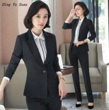 Office Ladies Formal Trouser Suit Women Plus Size Dress Pant Suit Female Business Work Blazer and Pants 2 Two Piece Set 3XL 4XL