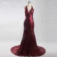 Lzf037 реальные фотографии Длинные Русалка вечернее платье Холтер Спагетти Бретели для нижнего белья бордовый блесток Платья для женщин хала