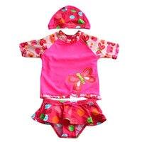 Babybadebekleidung mit Hülse Mädchen 2 Stücke Badeanzug mit Kappe rot mit Blumen & Wellenpunkt Muster 1-8 Jahre Kinder Kinder Schwimmen tragen