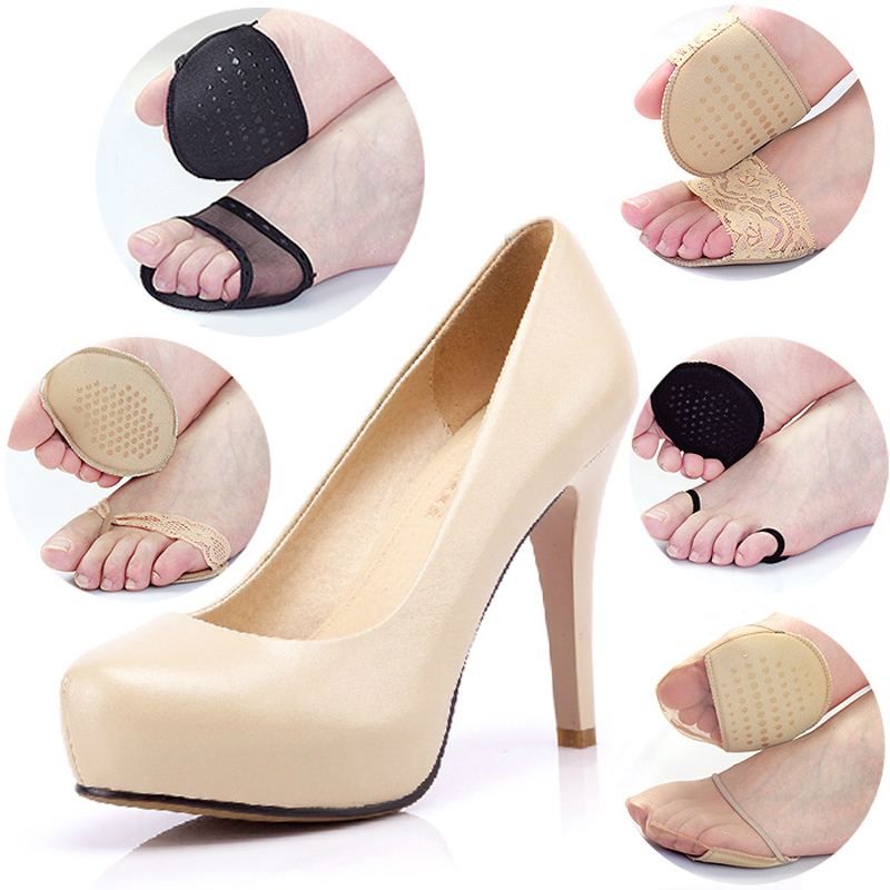 5pcs Thickening Super Soft High Heels Cushion Protector Foot Feet Care Shoe Forefoot Pad Insoles Stickers Non Slip Half Yard Pad