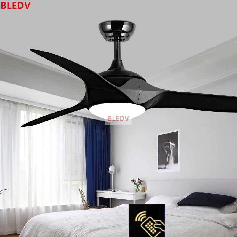 Dimming 52 Inch Led White Black Ceiling Fans With Lights Remote