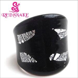 Модное кольцо с красной змеей ручной работы, черное с серебристой фольгой, полупрозрачные кольца из муранского стекла