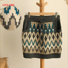 Vintage geometric pattern mini short knitted skirt winter mori girl
