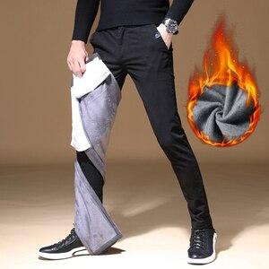Image 4 - 2020 Mens Winter Fleece warm Pants men Korean Casual Slacks Slim Warm thick Pants for men fashion Black gray Trousers male