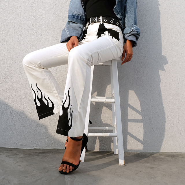 Women's High Waist Flame Printed Pants