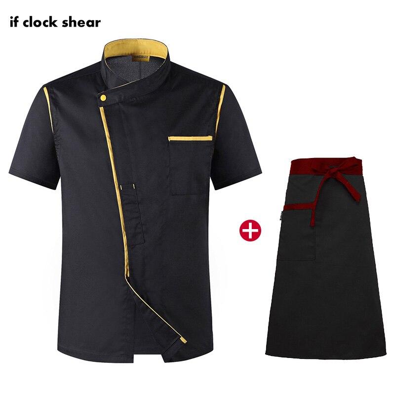 High Quality Unisex Short Sleeve Chef Uniform Restaurant Hotel Kitchen Workwear Breathable Chef Apron Jacket M-4XL Cooking Shirt