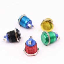 Metal Push Button Switch Waterproof IP65 Oxidation Self Reset Momentary 19mm Red Blue Black Green Yellow Color 1NO High round 6pcs 22mm momentary push button switch red green blue yellow black white normal open normal close