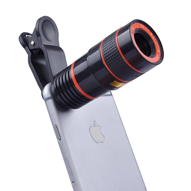 APEXEL 4 in 1 8X Telephoto Telescope Lens+Macro Lens+Wide Angle Lens+Fisheye Lens External Camera Lens For IOS Android Phone 1