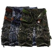 Мужские свободные пляжные шорты, зеленые камуфляжные шорты в стиле карго, большие размеры 29-42, лето 2020