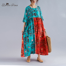 b5198099765 BelineRosa 2019 Women s Colorful Cotton Linen Dresses Large Size Dress  Retro China Style Plus Size Dress