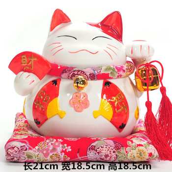Ceramic Lucky Cat ornaments red fan cat piggy ornaments business gifts gift cat