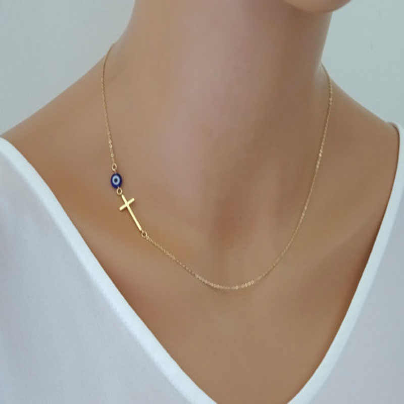Summer styles popular in Europe and America the gold side simple cross necklace cross pendant necklace eye charm of choice
