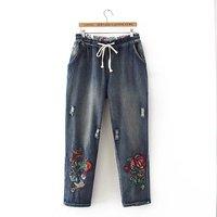 Plus Size Flower Embroidered Full Length Women Jeans Pants 2017 Ladies Drawstring Denim Cargo Pants Pocket