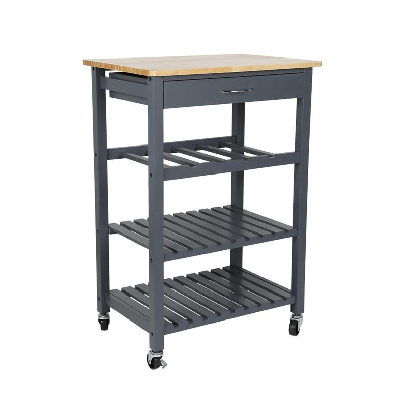 Chariot de cuisine pin massif étagère de rangement de cuisine Top cuisine ilot chariot trois couches étagère Rack avec roue universelle HWC