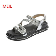 Thick Soled Sandals Women Students Flat Footwear Peep-Toe Platform Shoes Summer Gladiator Sandalis