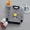 Alta Calidad Nueva Primavera Muchachas de Los Bebés Camisetas de Rayas de La Camiseta de Algodón de Manga larga T Shirts Niños Estrella Abrigo de Otoño de ropa 0-5 T Niños