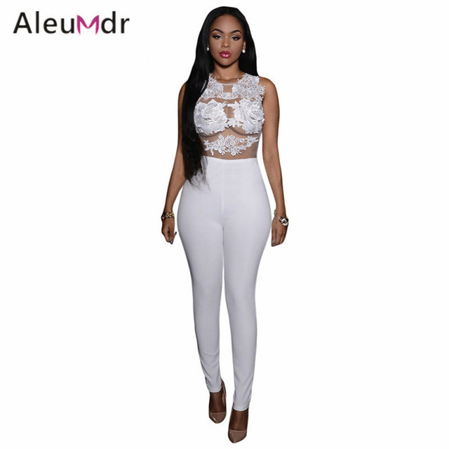 Aleumdr Romper Women (3 Colors) Mesh Lace Applique Jumpsuit Women Overalls Elegant Long Pants Sale LC64037 Combinaison Femme