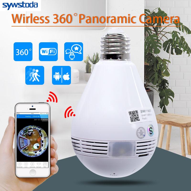 Bulb Lamp Wireless IP Camera Wifi 960P Panoramic FishEye Home Security CCTV Camera 360 Degree Night Vision